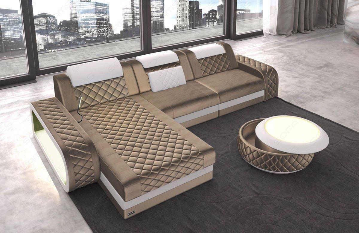 Sofa Berlin L Form mit Chesterfield Steppung und USB - hellbraun Sun Velvet 1011