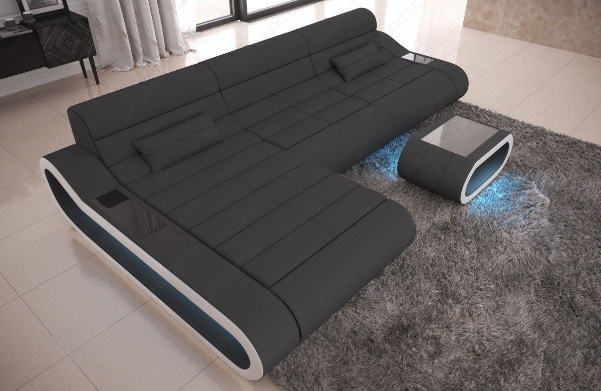 Stoff Couch CONCEPT L Form LED modern - grau Mineva 8