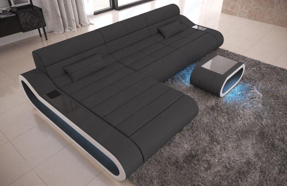 Stoff Couch CONCEPT L Form LED modern - grau Mineva 8