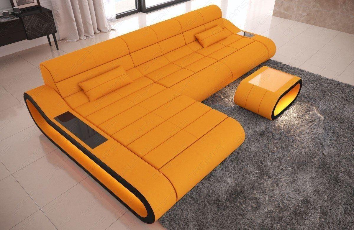 Polster Couch CONCEPT L Form LED lang - orange Mineva 16