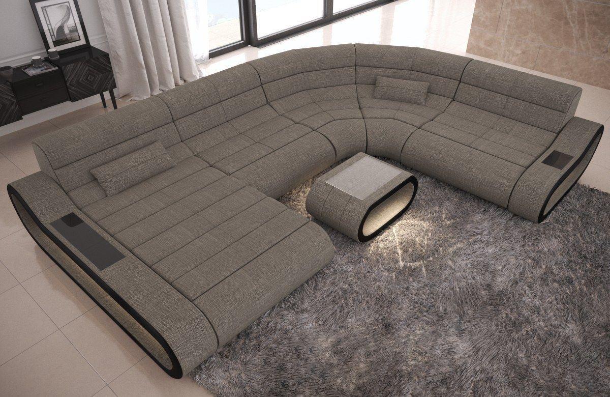 XXL Couch Concept Stoff Mix Strukturstoff - grau Hugo 3