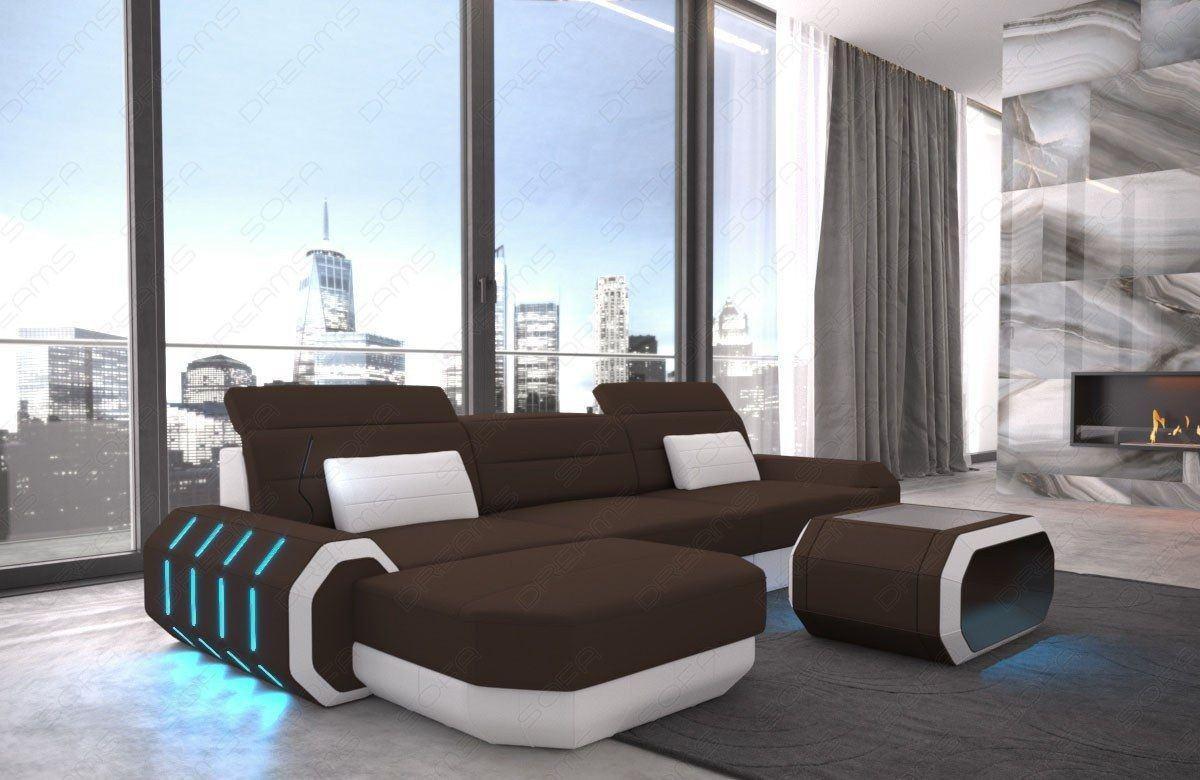 Sofa Stoff Couch Luxus Ecksofa Roma L mit LED Beleuchtung dunkelbraun - Mineva 7