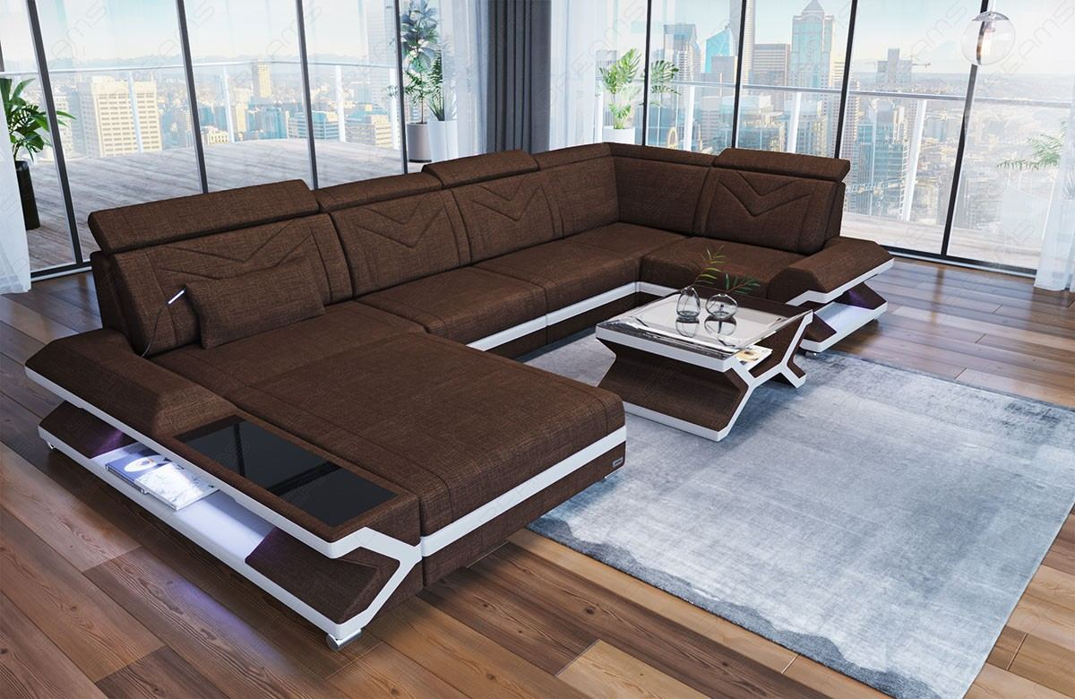 Sofa Wohnlandschaft Napoli in Hugo 8 - braun