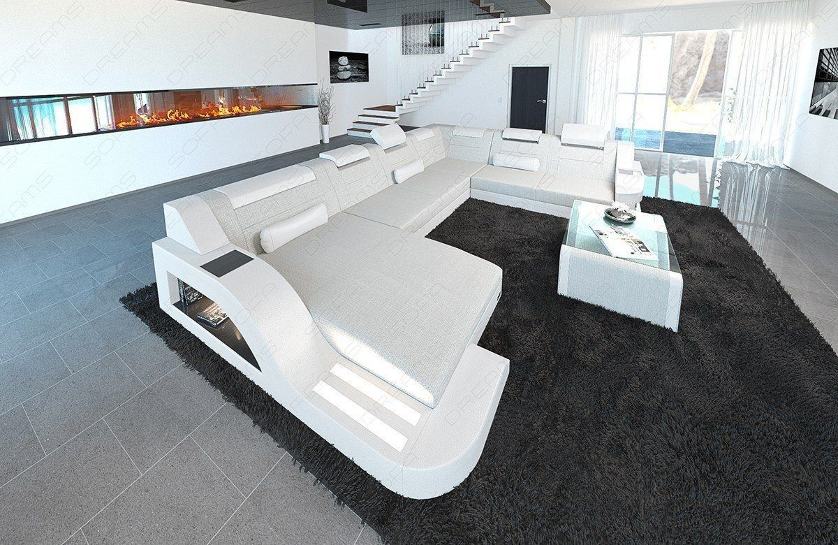 Polster Sofa Wohnlandschaft Palermo XXL Materialmix Hugo 1