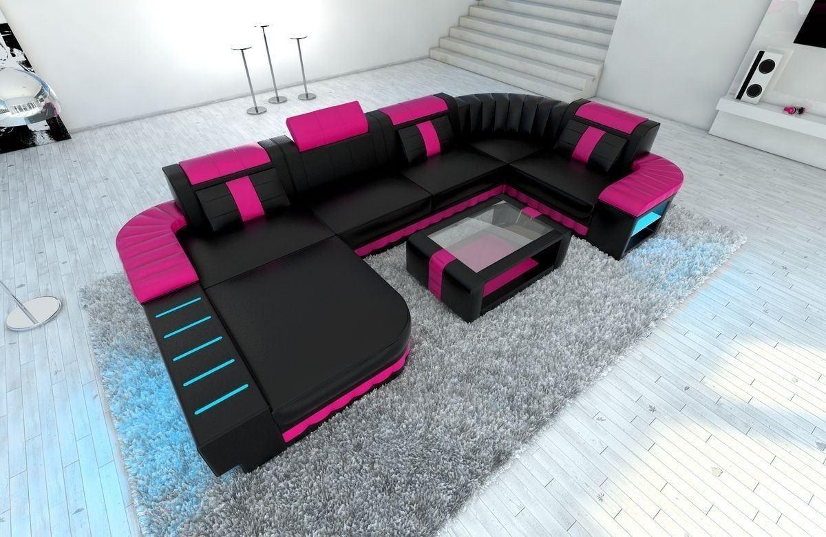 Sofa Wohnlandschaft Bellagio U Form schwarz-pink