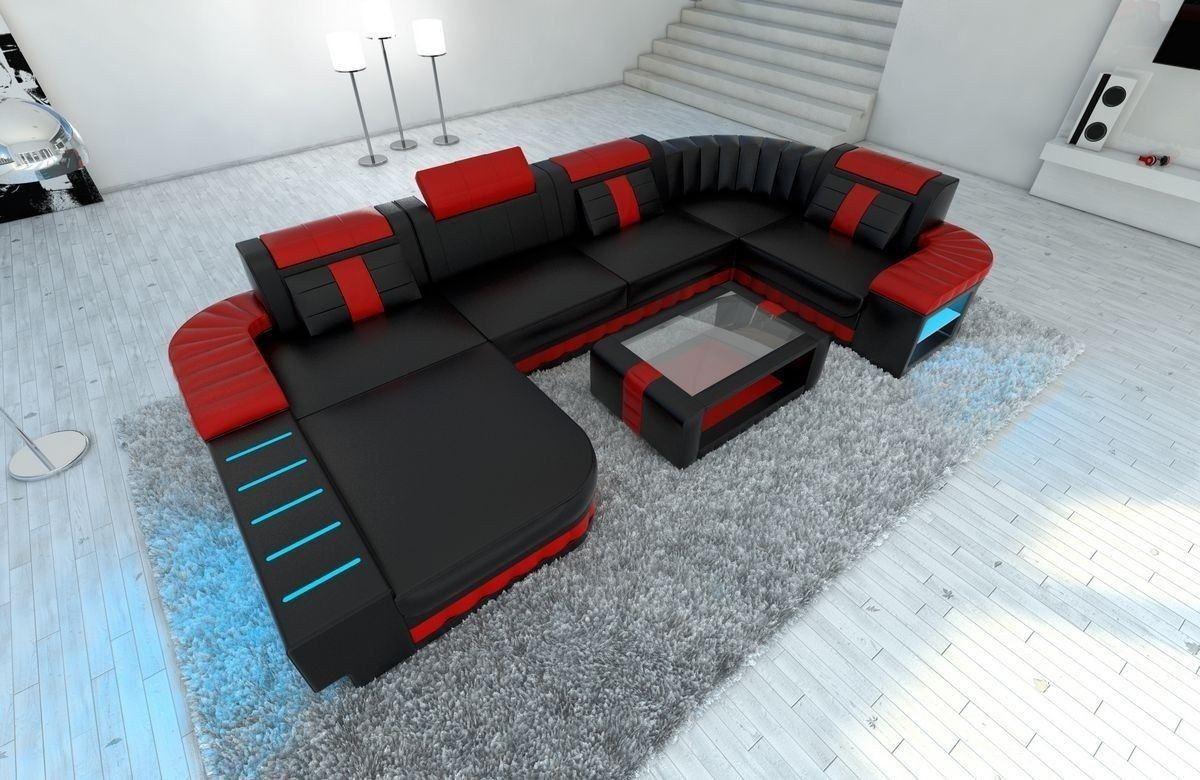 Sofa Wohnlandschaft Bellagio U Form schwarz-rot