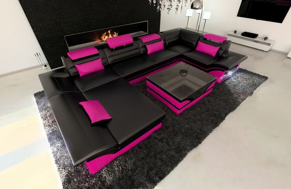 Leder Wohnlandschaft Enzo U Form schwarz-pink