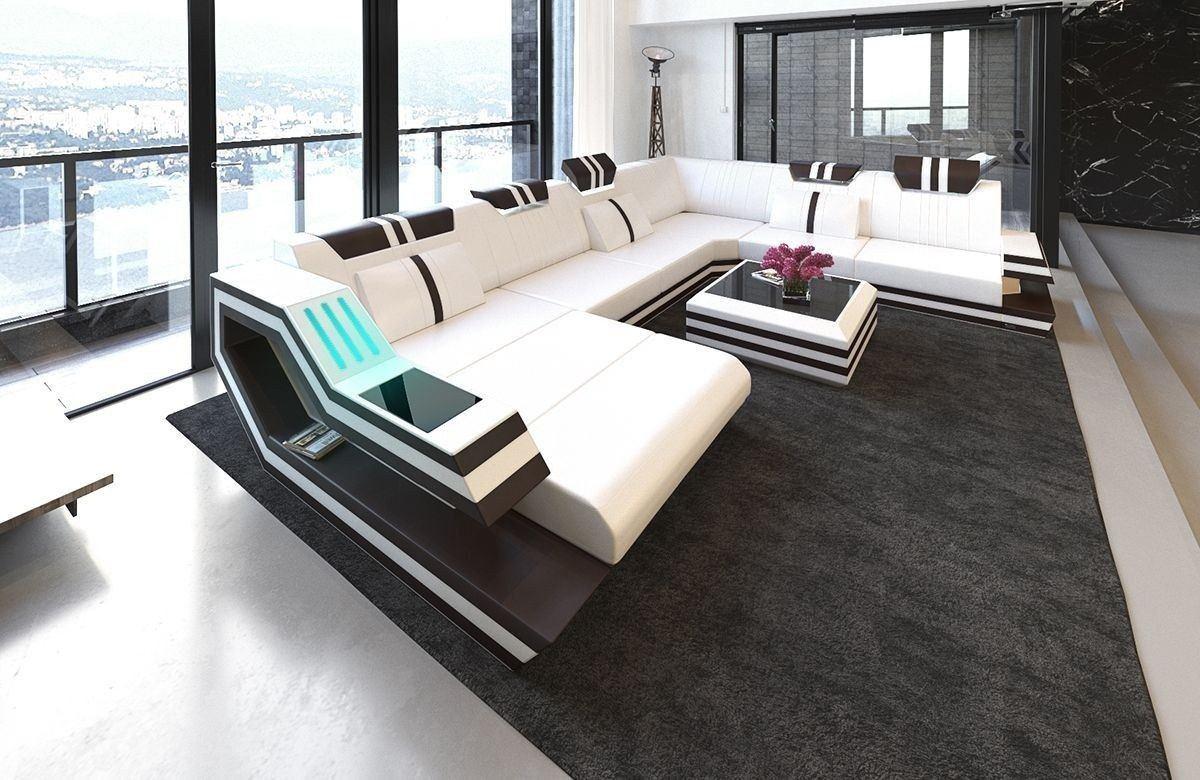 xxl wohnlandschaft ravenna in leder und den farben weiss braun. Black Bedroom Furniture Sets. Home Design Ideas