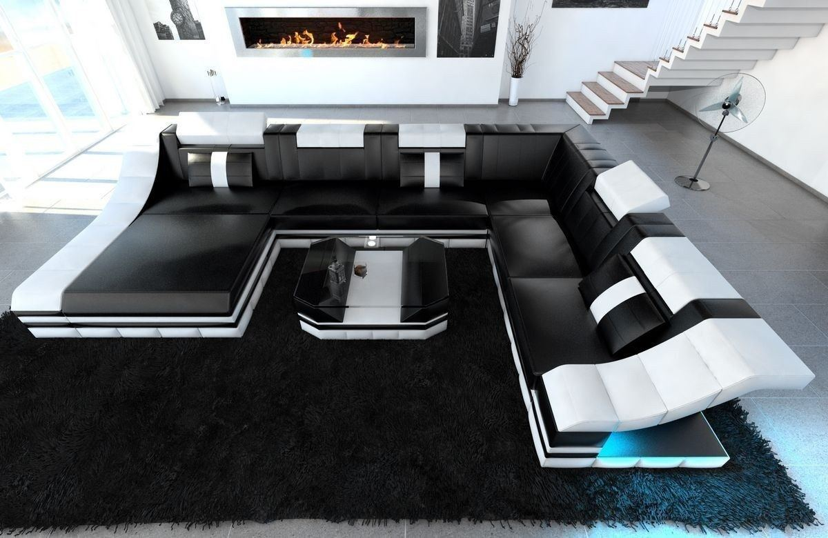 xxl wohnlandschaft turino in echleder kunstleder mix schwarz weiss. Black Bedroom Furniture Sets. Home Design Ideas