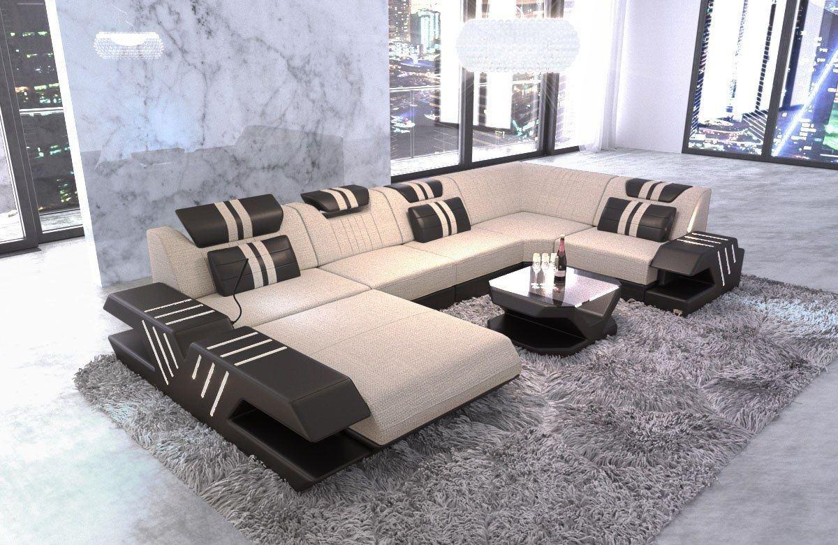 Stoff Couch Sofa Mix Venedig U Beleuchtung Webstoff elfenbein- Hugo 1