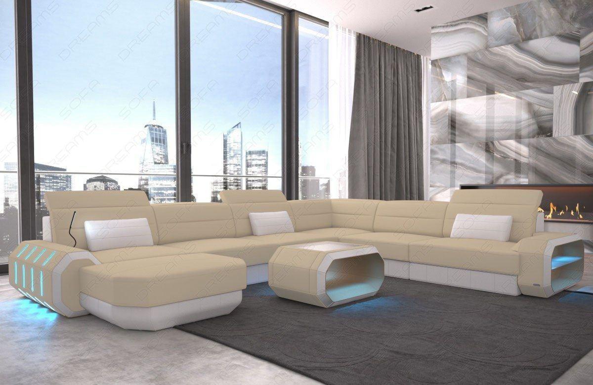XL Stoff Sofa Strukturstoff Roma in beige mit LED Beleuchtung - Mineva 4