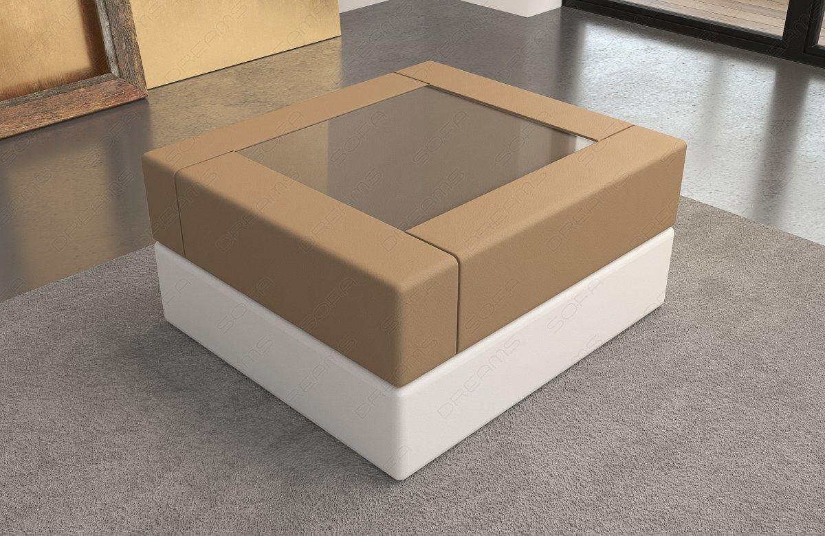 Tisch in Leder Milano in sandbeige-weiss