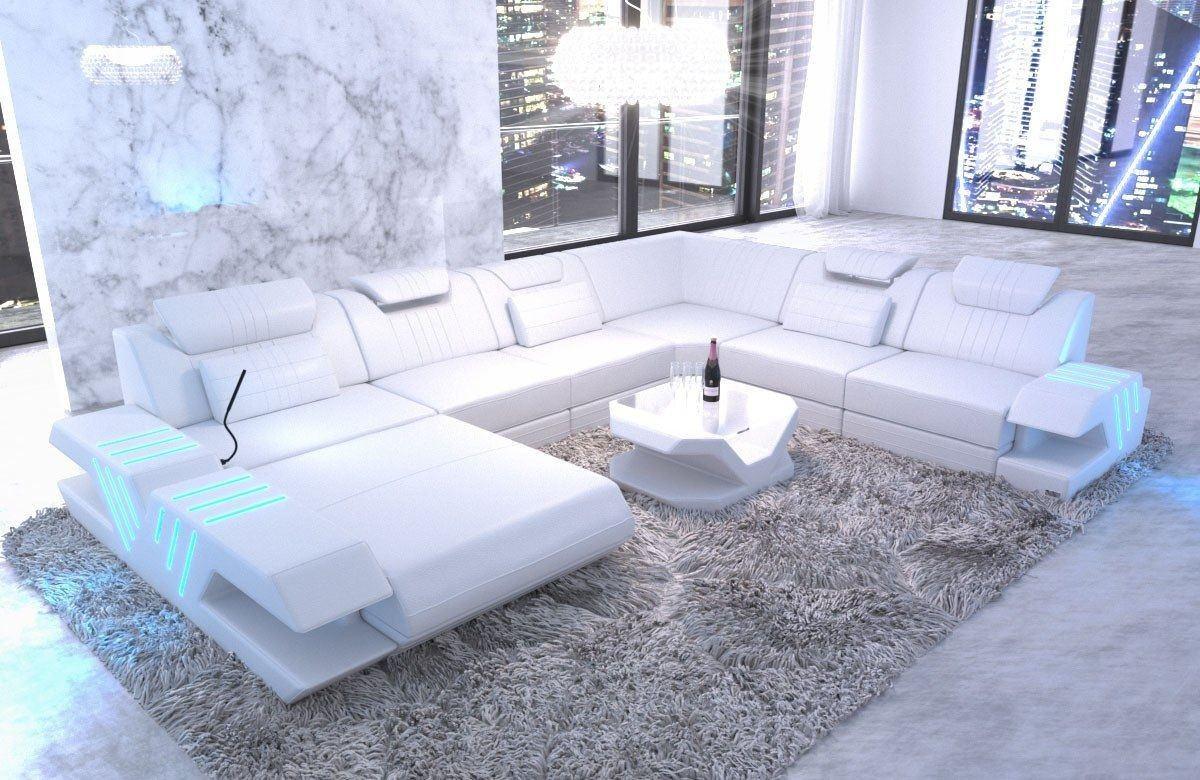 XXL Wohnlandschaft Venedig Leder Weiß