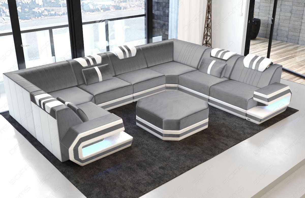 Sofa Samtstoff Bezug in U Form mit LED Beleuchtung - hellgrau Sun Velvet 1024
