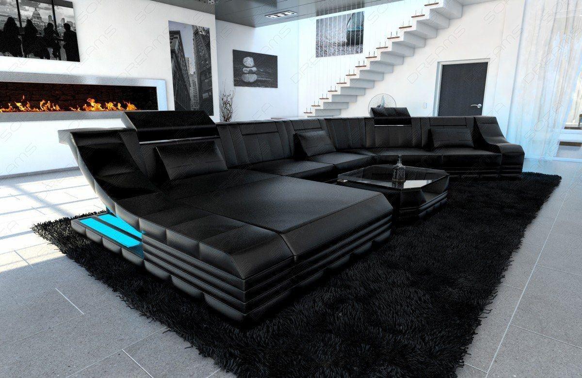 Luxus Echtleder-Wohnlandschaft in schwarz in schwarz-schwarz