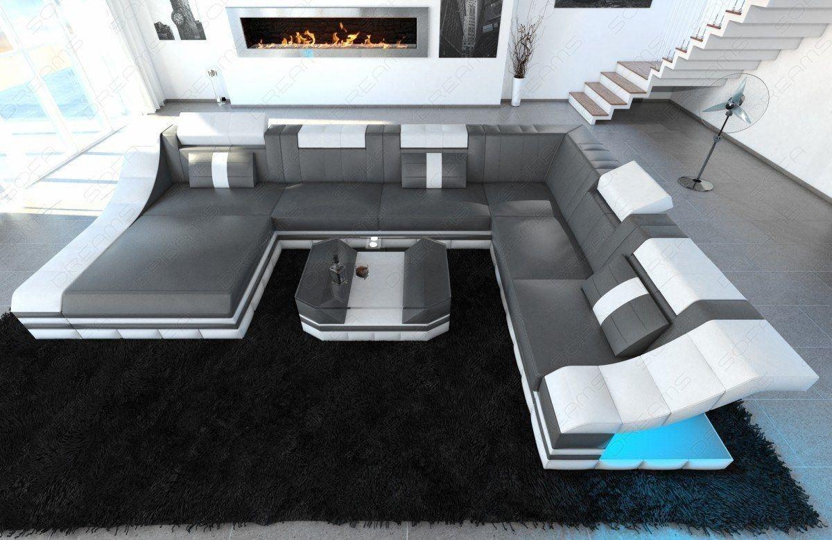Designer Wohnlandschaft Turino mit Beleuchtung grau- weiß