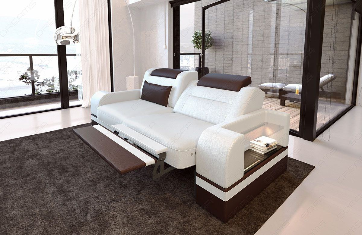 Zweisitzer Sofa Parma mit opt. Relaxfunktion und LED Beleuchtung - weiss dunkelbraun