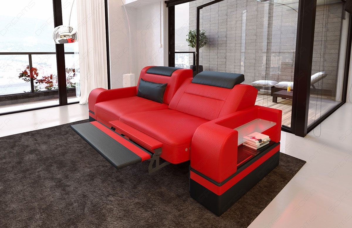 Zweisitzer Couch Parma mit opt. Relaxfunktion und LED Beleuchtung - rot