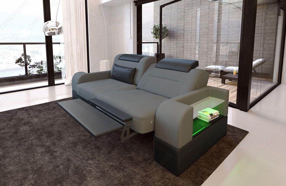 Zweisitzer Sofa Parma Stoff mit elektrischer Relaxfunktion grau Mineva 15