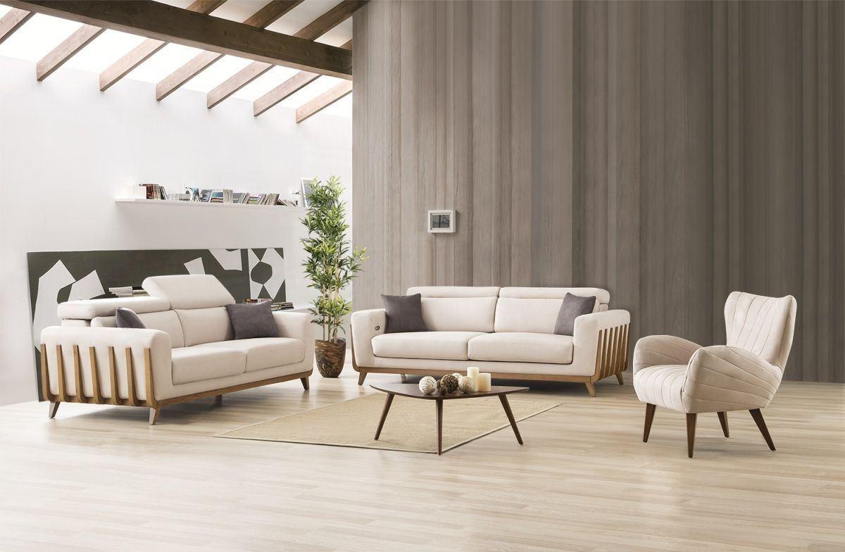 Sofa Set Jena 3er und 1er mit Relaxfunktion in Elfenbein - Nerm 15