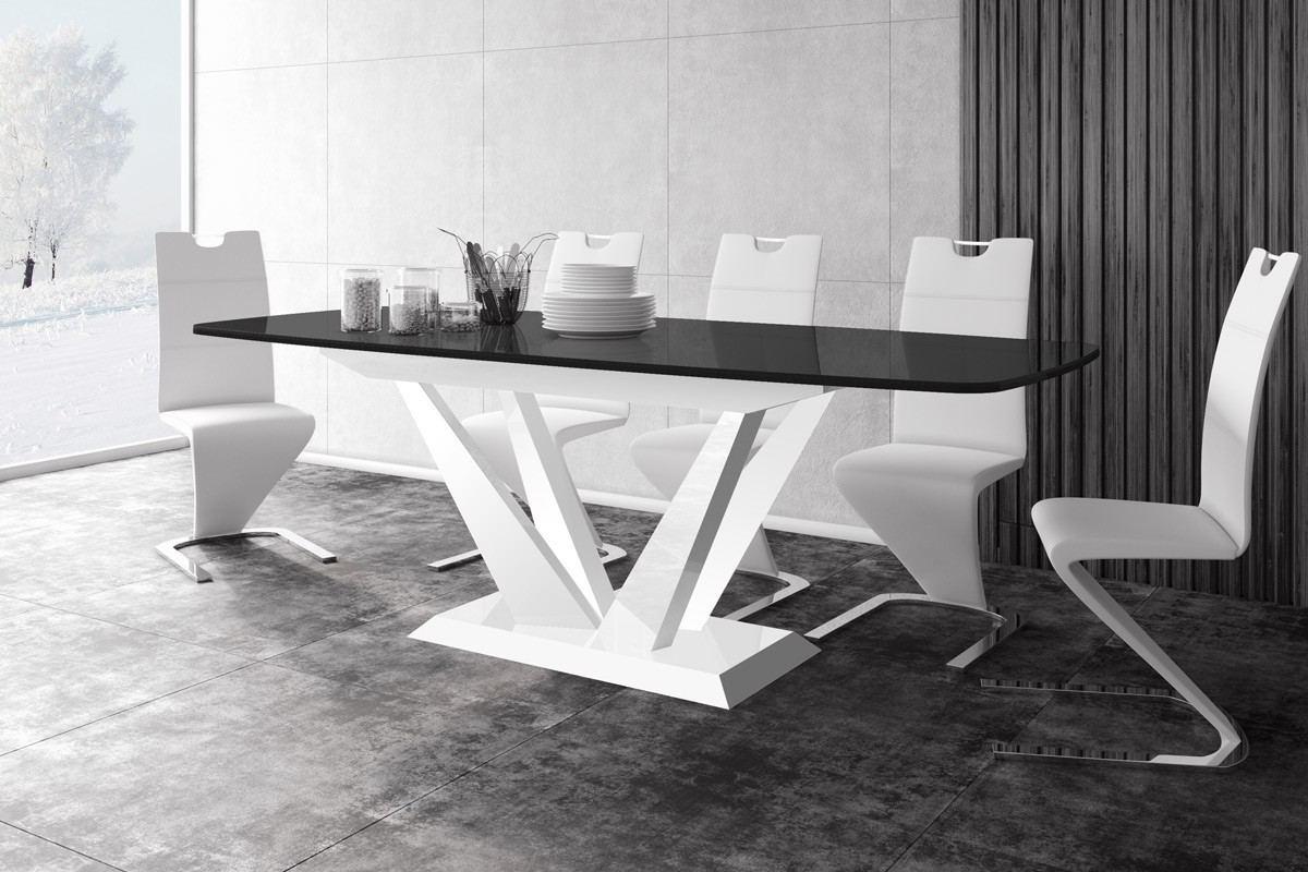 moderner Design Holz Esstisch Arona in schwarz - weiss hochglanz