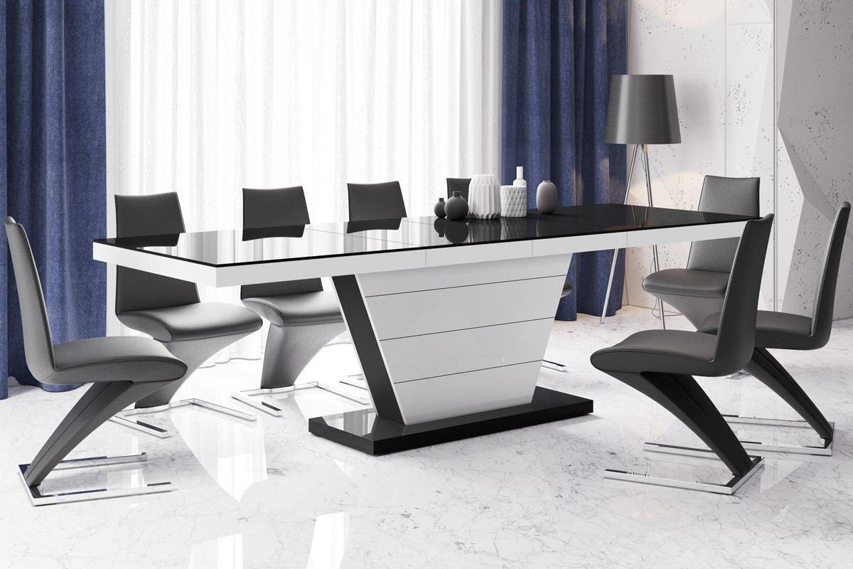 Esstisch Torrent Luxus in schwarz - weiss hochglanz