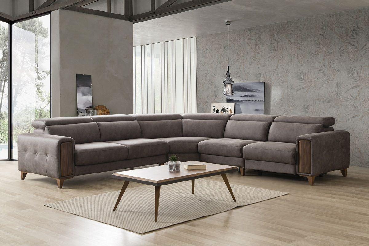Design Stoff Sofa Göttingen mit Relaxfunktion in Steingrau - Nerm 30
