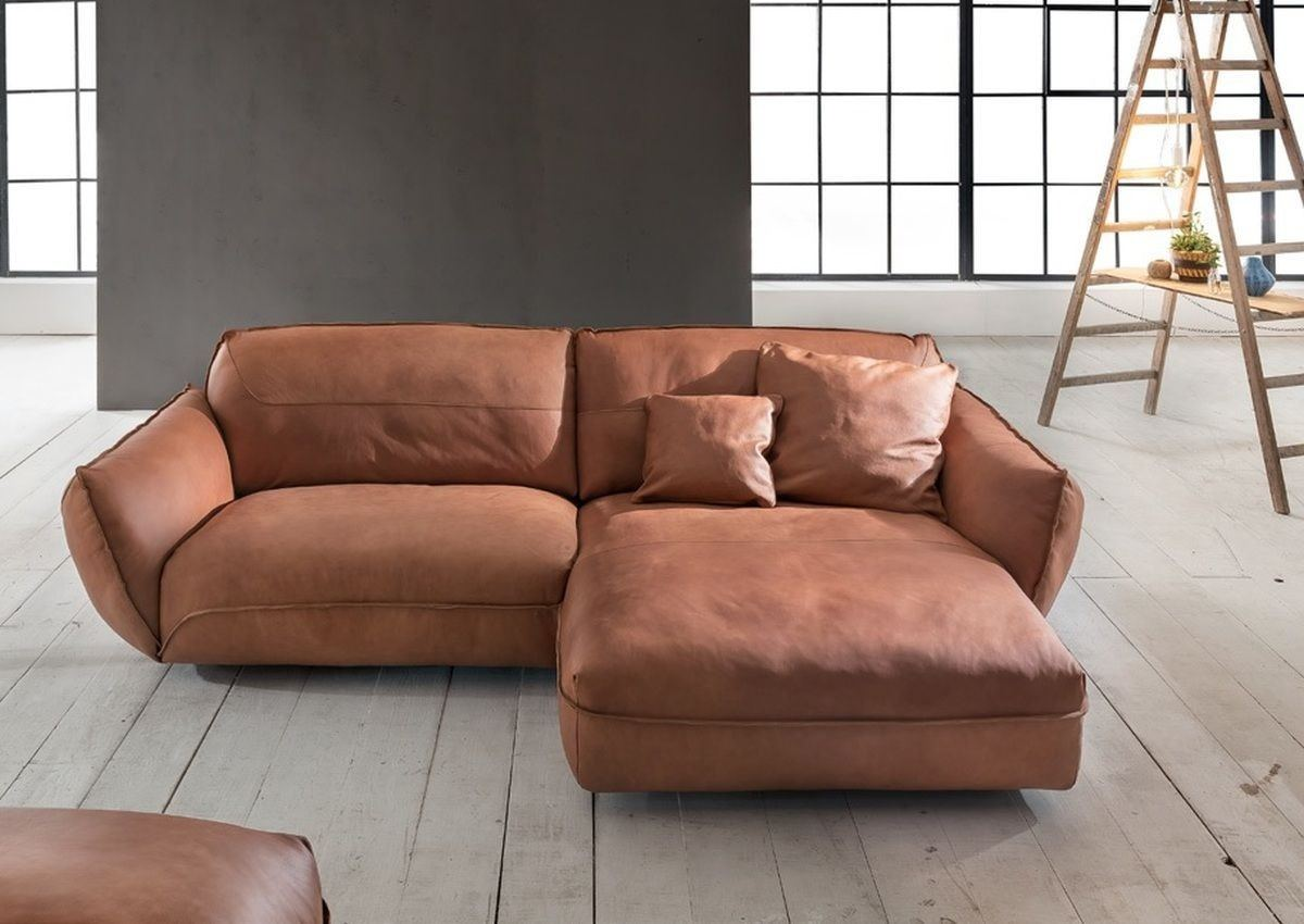 Sofa Chillcouch Cosy L Form in Echtleder braun