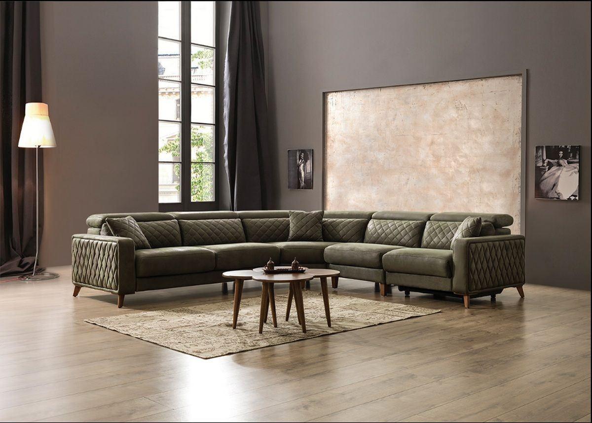 Design Chesterfield Stoff Sofa Krefeld L mit Recliner in grün - Nerm 08