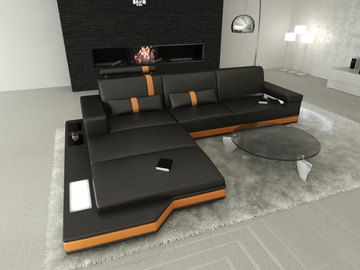 Ledersofa Messana L Form schwarz-orange