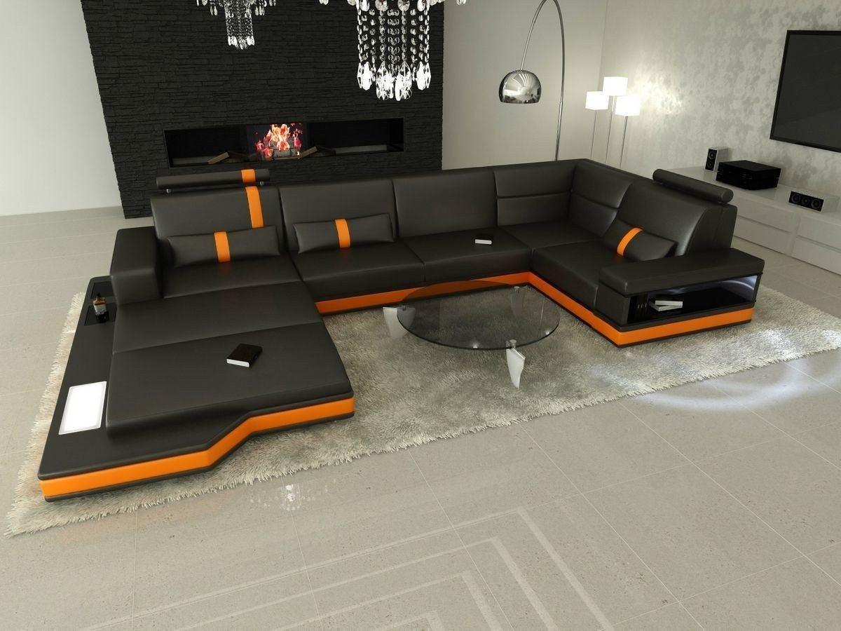 Wohnlandschaft Messana Leder U Form schwarz-orange