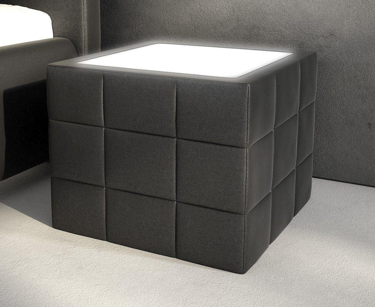 Nachttisch Night mit LED Beleuchtung in schwarz