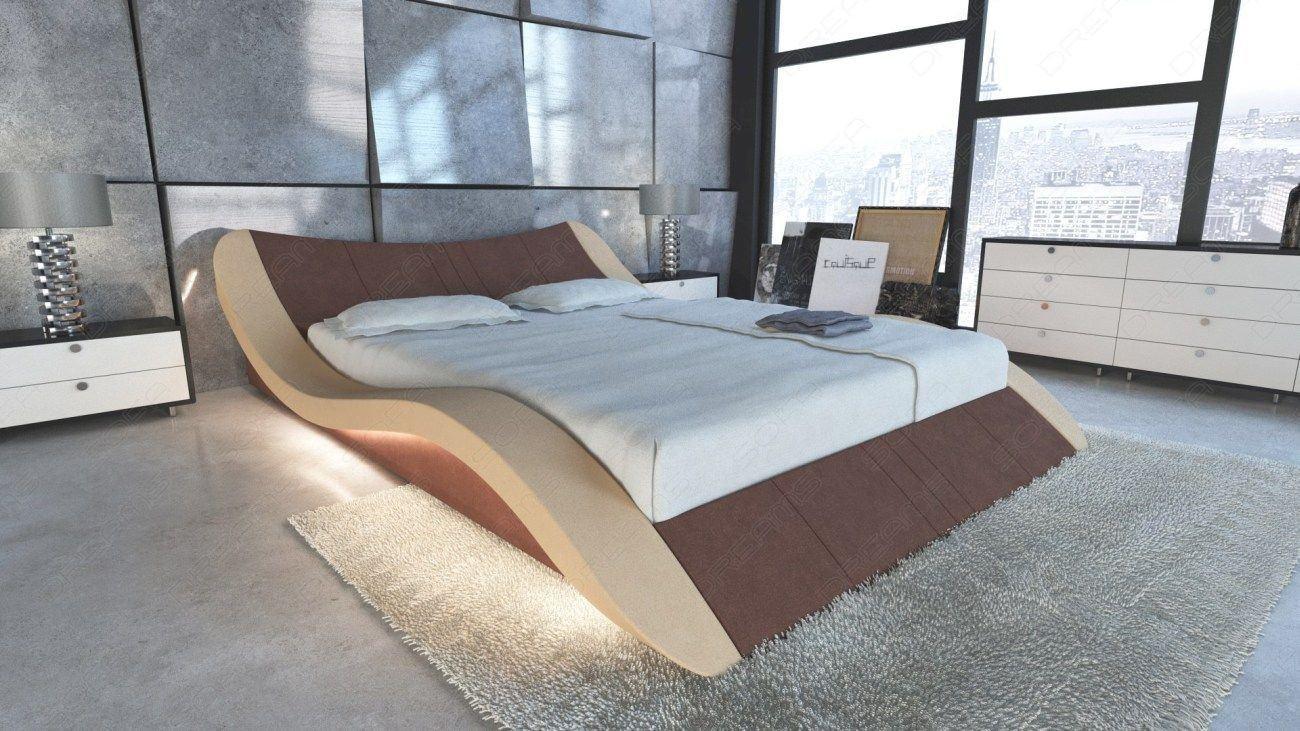 Design Wasserbett Frankfurt mit LED Beleuchtung in braun Mineva 5