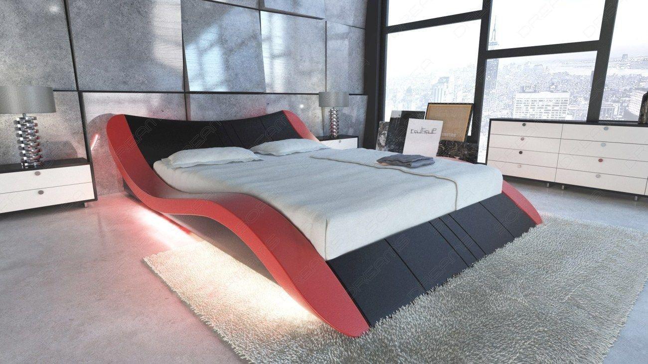 Luxus Ehebett Frankfurt in Leder in rot-schwarz