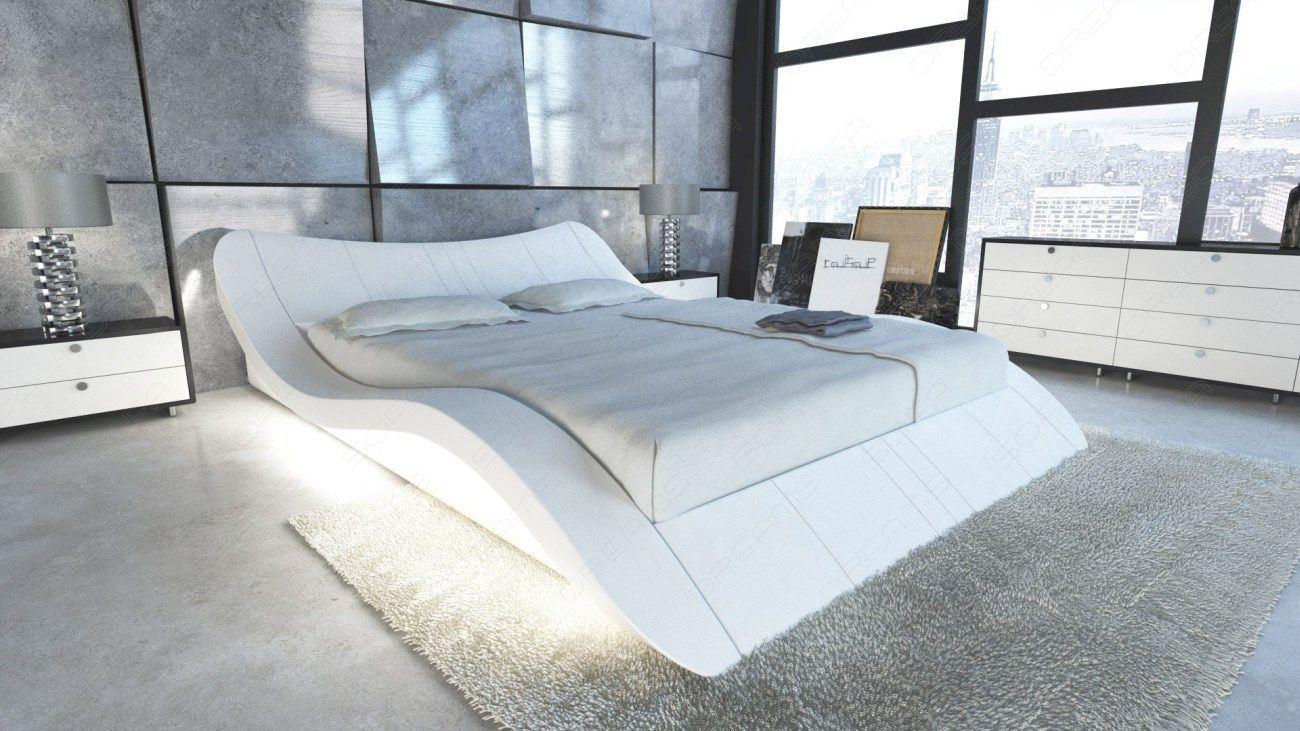 Designerbett in Leder mit LED Beleuchtung in weiss