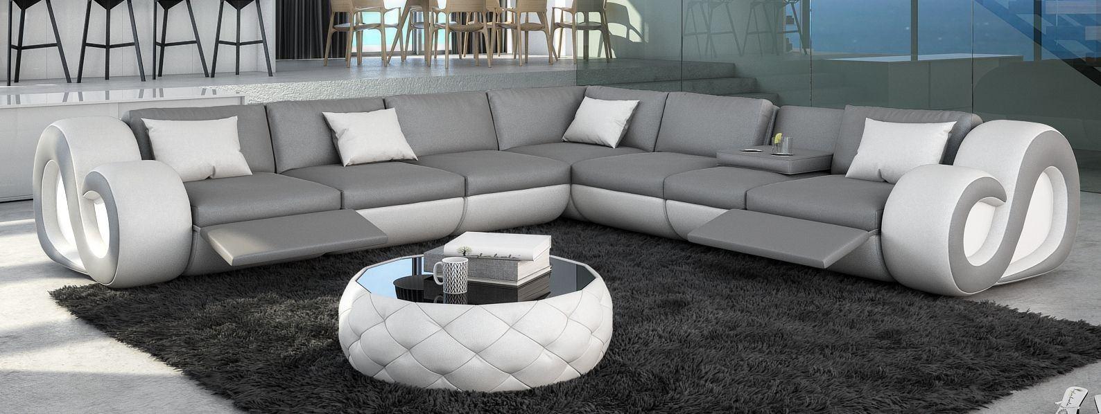 XXL Sofa Couch Leder Nesta L-Form XXL mit Relaxfunktion und LEDs - schwarz