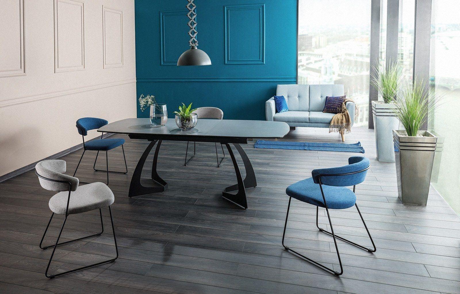 Esstisch Martinez modern mit edlen Metallfüßen und Keramik Tischplatte in anthrazit