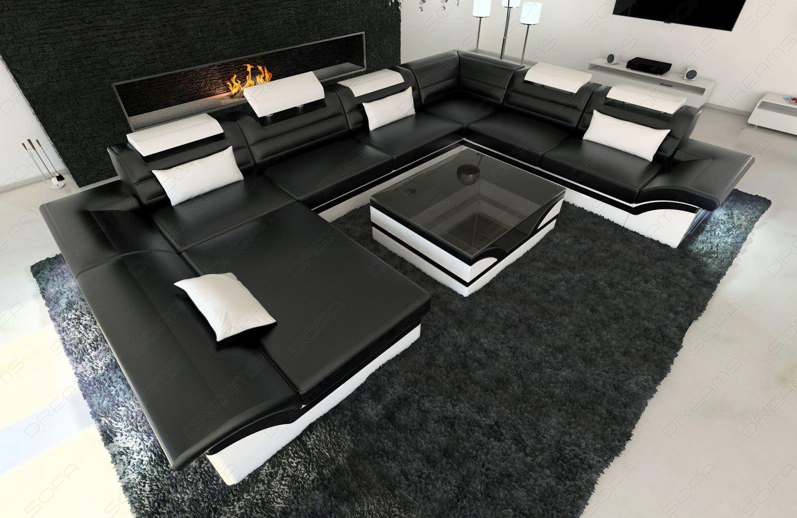 Ledercouch Enzo XXL in schwarz-weiss