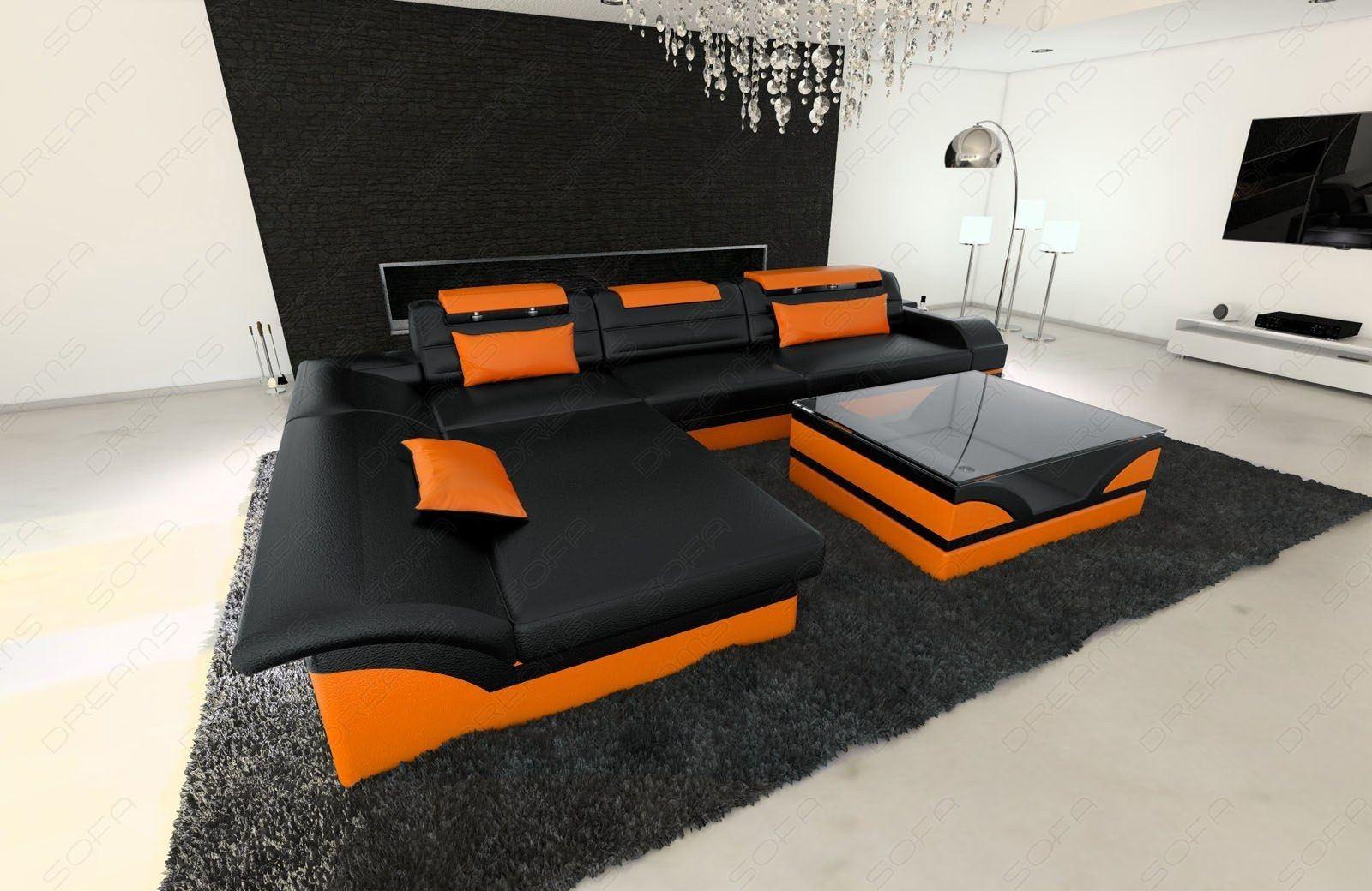Designersofa Monza in Leder in schwarz-orange