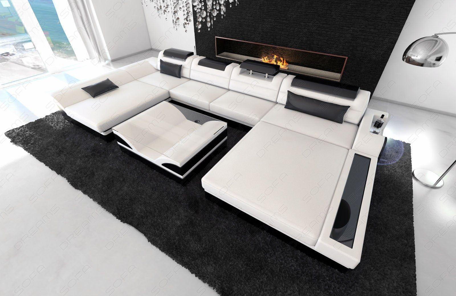 Designer Sofalandschaft Monza U Form in weiss - schwarz