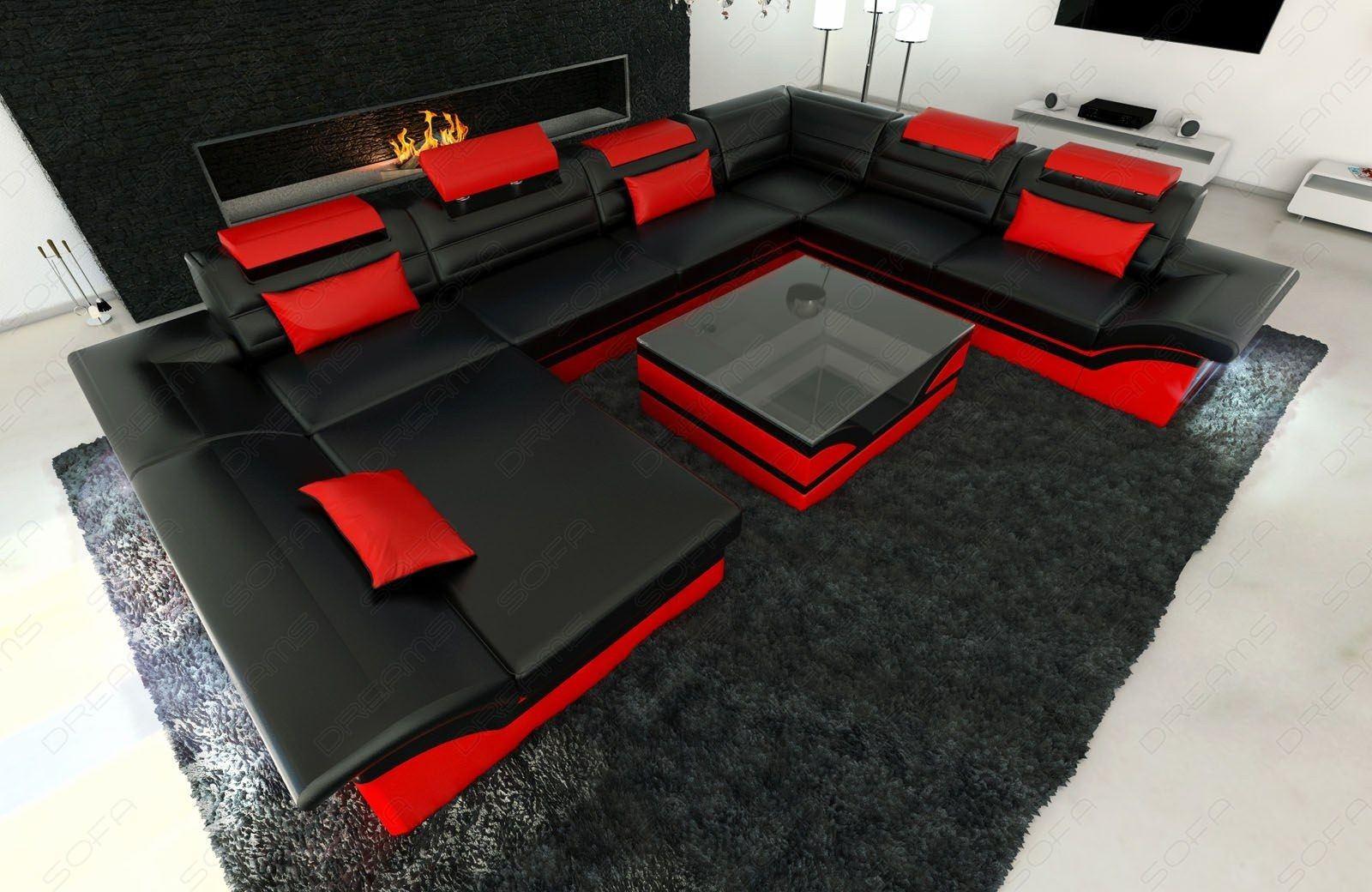 Designersofa Wohnlandschaft Enzo XXL in schwarz-rot
