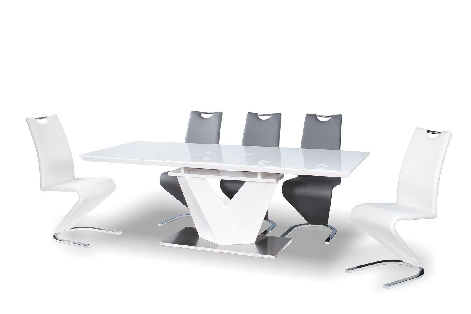 Esstisch Luxor modern mit edler Glas Tischplatte ausziehbar. Tisch in weiss hochglanz.