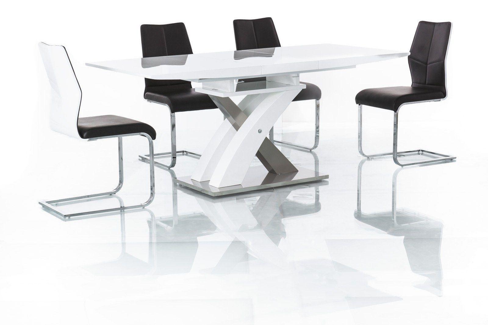 Esstisch Raul modern mit edlen Fuß und erweiterbarer Tischplatte in weiss.