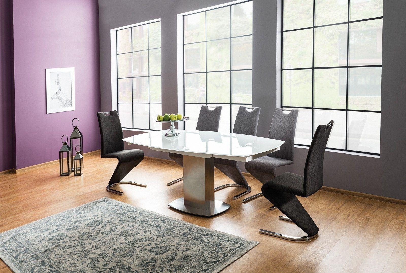 Esstisch Luciano mit Milchglasplatte erwieterbar von 130cm auf 190cm. Füße mit gebürsteten Metall.