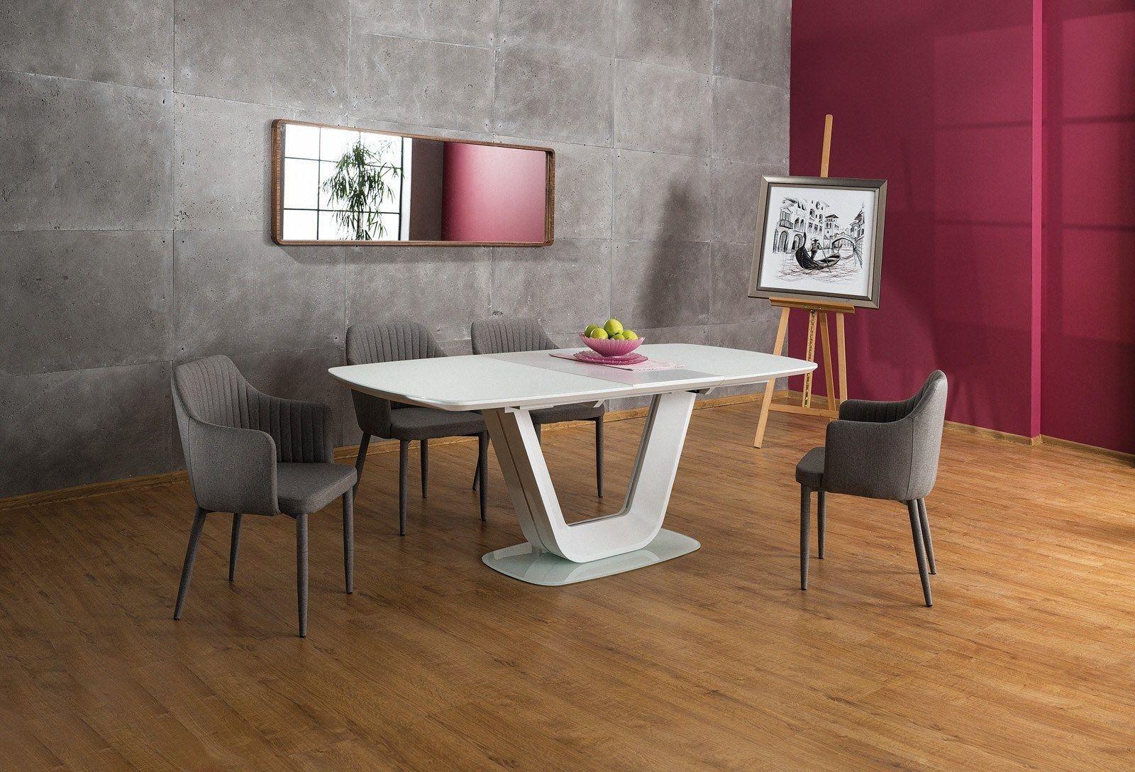 Esstisch Bodani weiss mit drehbarer Tischplatte in weiss. Erweiterbar auf auf 200cm.