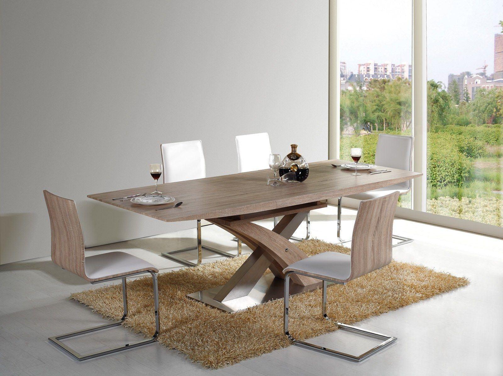 Esstisch Raul mit edlen Metallfuss Fuß und Holz Tischplatte. Erweiterbar von 160cm auf 220cm.