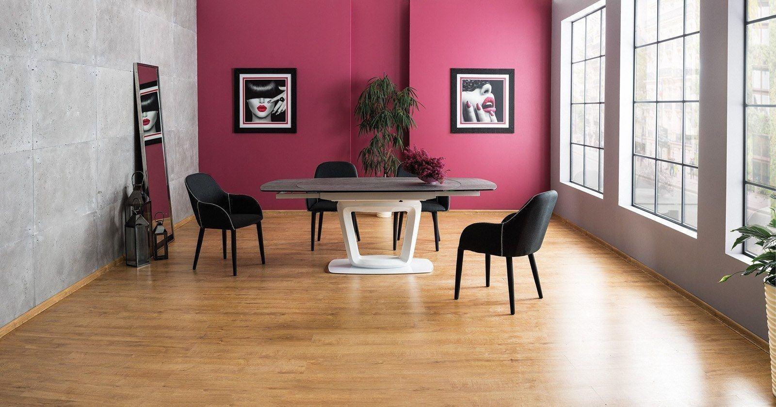 Esstisch weiss mit Keramik Tischplatte in anthrazit. Erweiterbar auf auf 200cm.