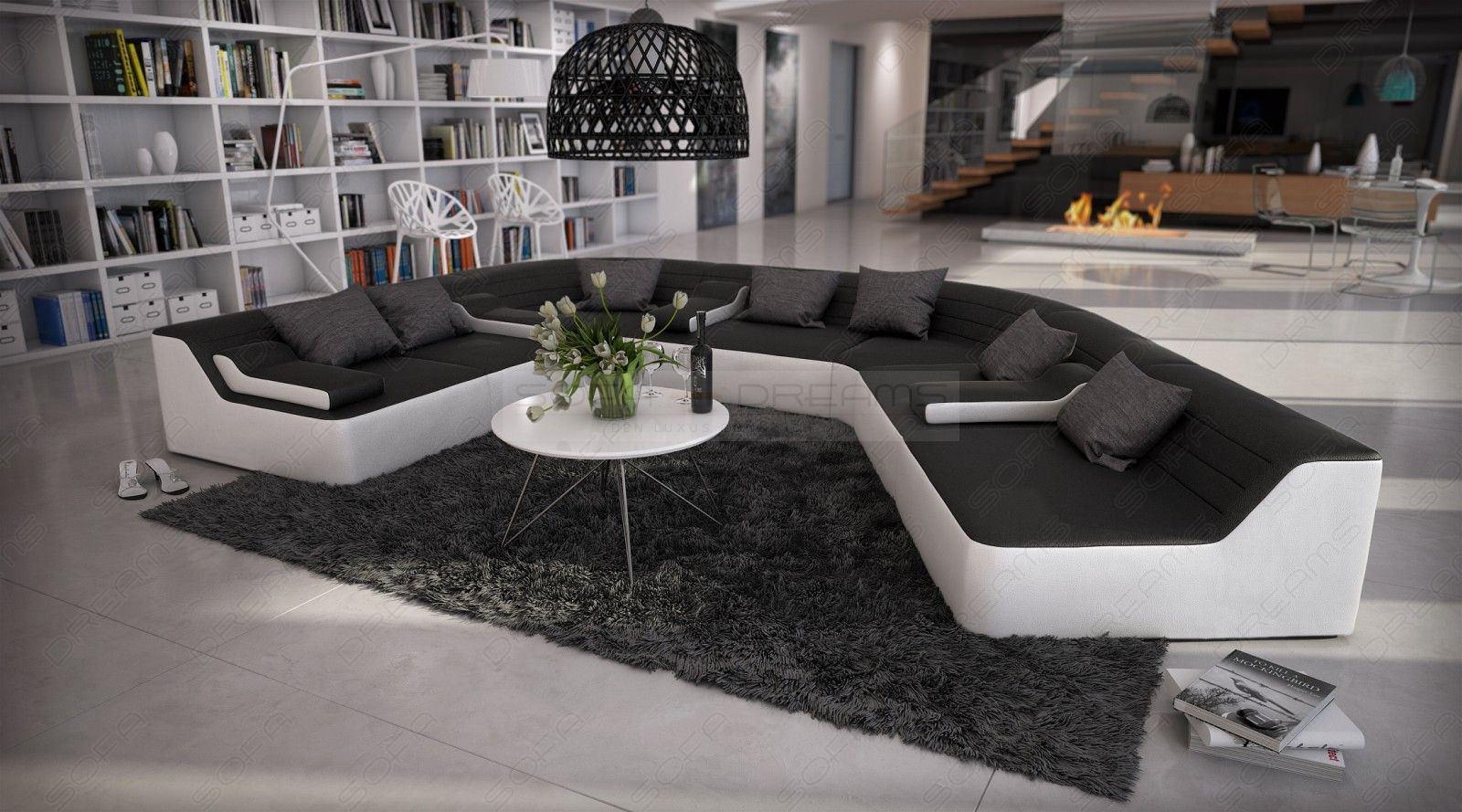 moderne Couchgarnitur in schwarz-weiss