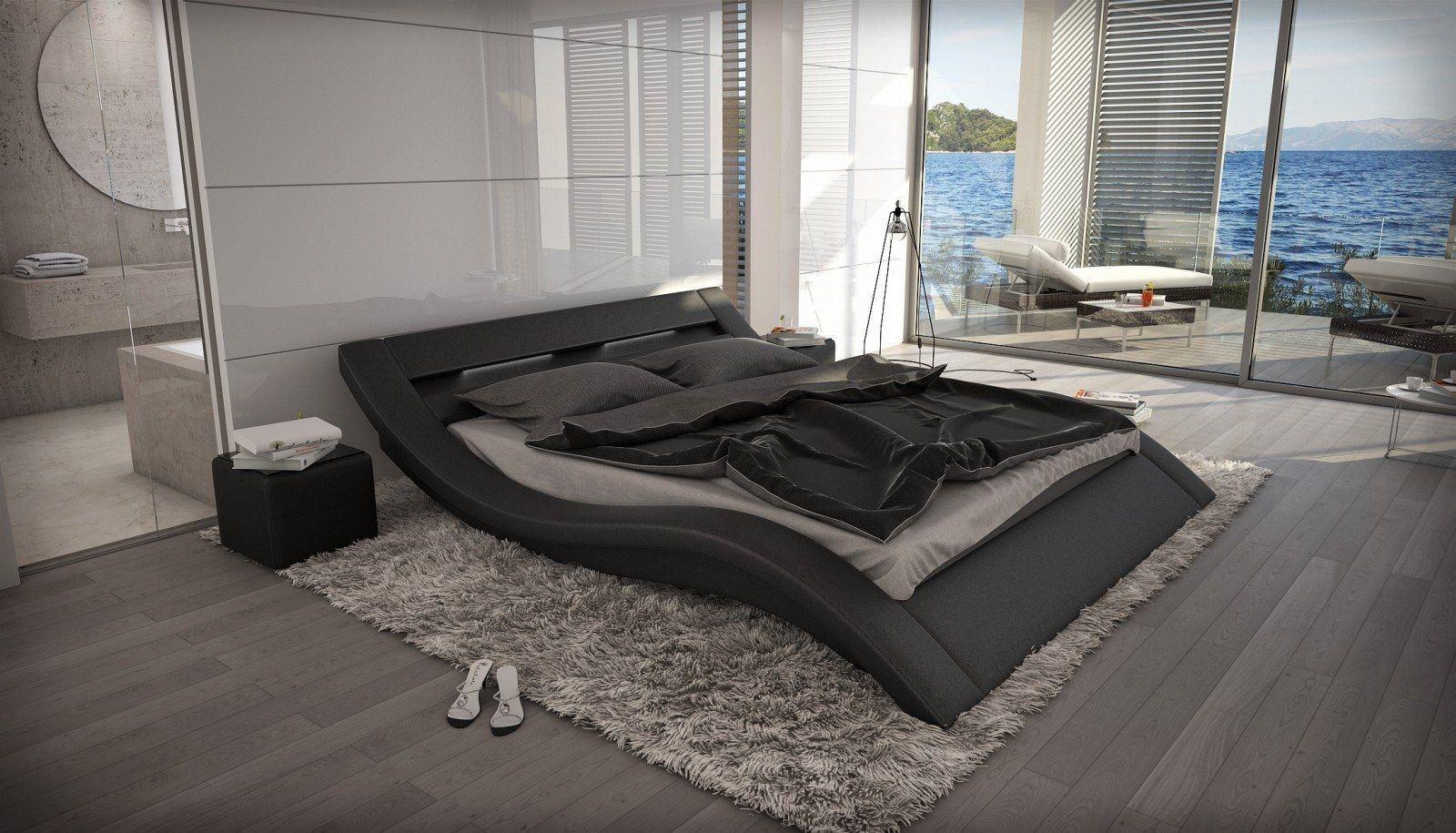 Designbett MASSA in schwarz Kunstleder