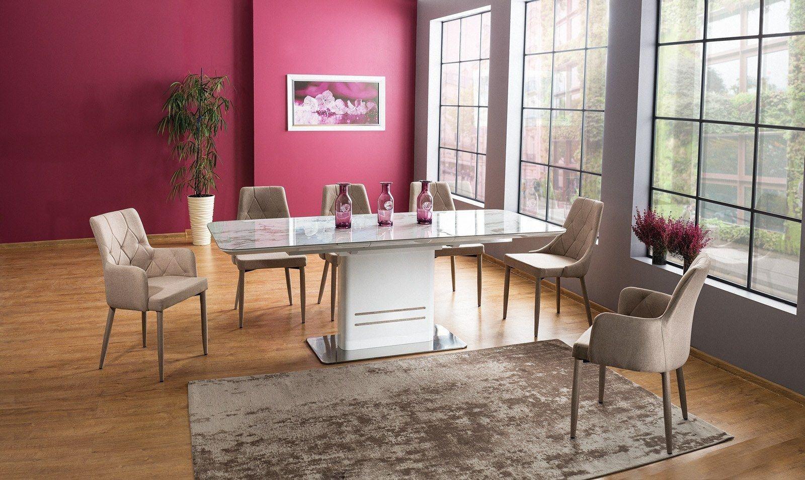Esstisch Valencia weiss mit edler Tischplatte marmoriert in weiss
